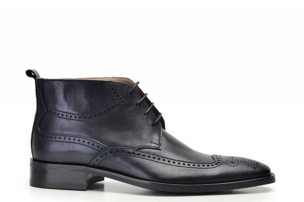 Nevzat Onay - Nevzat Onay Men Black Leather Brogue Boots