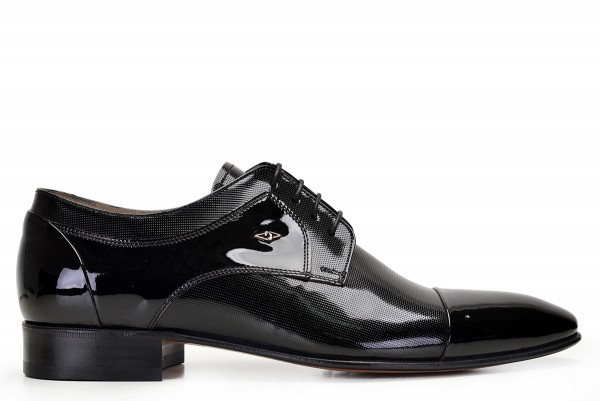 Nevzat Onay - Nevzat Onay Polished Black Leather Lace Up Derby Shoes
